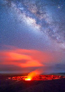 Glowing gases rising from Halemaumau Crater, Kilauea Caldera, in evening with Milky Way in the sky above.  Hawaii Volcanoes National Park, Hawaii, August 2010.  -  Jack  Dykinga