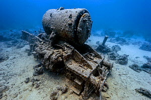 Stanier 8F locomotives that was part of cargo of Thistlegorm and now rests nearby on the seabed. Sha'ab Ali, Sinai, Egypt. Red Sea, July 2013. - Alex Mustard