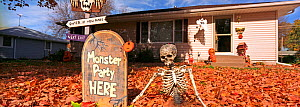 Halloween decorations including pumpkins (Cucurbita pepo) outside house, outskirts of Minneapolis, USA.  -  Pal Hermansen