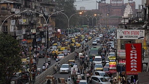 Time-lapse of people and traffic outside The Red Fort at sunset, Delhi, India, March 2011. - Sandesh  Kadur