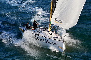 Aerial view of Figaro Beneteau 'Figaro Bretagne Credit-Mutuel Performance' sailed by Corentin Horeau and Michel Desjoyeaux. Transat AG2R 2014, Port La Foret, France, 27th February 2014. All non-editor...  -  Benoit  Stichelbaut