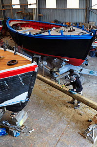 Work on boat in Guip Shipyard, Ile-aux-Moines, Morbihan, France, March 2014. All non-editorial uses must be cleared individually.  -  Benoit  Stichelbaut