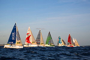 Fleet of Figaro Beneteau mono-sail yachts sailing in Tour de Bretagne a la Voile 2013, Paimpol to Perros-Guirrec stage, 1st September 2013, France. All non-editorial uses must be cleared individually. - Benoit  Stichelbaut