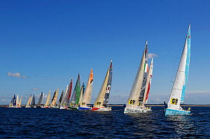 Fleet of Figaro Beneteau mono-sail yachts sailing in Tour de Bretagne a la Voile 2013, Lorient to Piriac stage, 6th September 2013, France. All non-editorial uses must be cleared individually. - Benoit  Stichelbaut