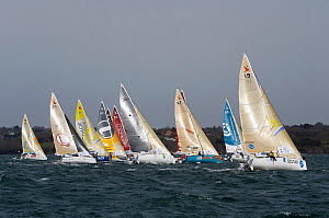 Fleet of Figaro Beneteau mono-sail yachts before the start of the Transat AG2R, Concarneau, 23rd March 2014. All non-editorial uses must be cleared individually. - Benoit  Stichelbaut