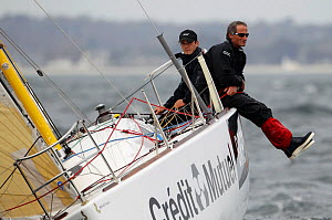 'Bretagne Credit Mutuel Performance� (Corentin Horeau, Michel Desjoyeaux) preparing for the Transat AG2R, France, 29th March 2014. All non-editorial uses must be cleared individually.  -  Benoit  Stichelbaut