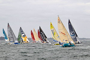 Figaro Beneteau mono-sail yacht fleet departing from Concarneau, during the Transat AG2R Transatlantic Race from Concarneau to St Barths. Corncarneau, France. 6th April 2014. All non-editorial uses mu... - Benoit  Stichelbaut