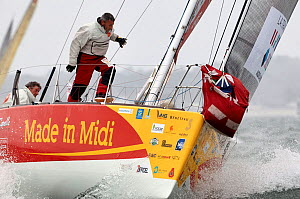Gwenael Gbick and Kito De Pavant aboard the Figaro Beneteau mono-sail yacht, �Made In Midi� heeling whilst leaving Concarneau, during the Transat AG2R Transatlantic Race from Concarneau to St Barths.... - Benoit  Stichelbaut