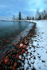 Snow lining the shore of Lake Superior, Tettegouche State Park, Minnesota, December 2011.  -  Thomas Lazar