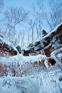 Icicles hanging from sandstone cliffs on shoreline, Apostle Islands National Lakeshore, Lake Superior, Squaw Bay, Wisconsin, February 2014.  -  Thomas Lazar