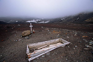 Graves at the now abandoned British Antarctic Survey station and Whaling station, Whalers Bay, Deception Island, Antarctica  -  Bryan and Cherry Alexander