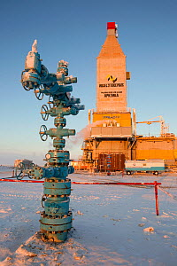 A 'Christmas tree' (valve assembly) in front of a gas drilling derrick in the South Tambey Gas Field, Yamal Peninsula, Siberia, Russia. February 2014.  -  Bryan and Cherry Alexander