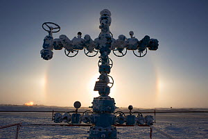 Sundogs (parhelia / parhelai) behind a 'Christmas tree' (valve assembly) in the South Tambey Gas Field, Yamal Peninsula, Siberia, Russia. February 2014. - Bryan and Cherry Alexander