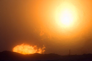 The winter sun setting behind a gas flare a drilling site near Sabetta, South Tambey Gas Field, Yamal Peninsula, Siberia, Russia. February 2014.  -  Bryan and Cherry Alexander