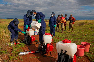 Food and Agriculture Organization (FAO) locust control operation. Preparation of equipment for spraying insecticides on ground to kill migratory locust (Locusta migratoria capito) nymphs. Ground contr... - Ingo Arndt