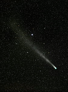 Comet C/2013 R1 (Lovejoy) streaming past the star Sarin (HIP 84379) in the Hercules Constellation as it leaves perihelion (its nearest point to the sun) and returns on its orbit to outer space. Taken...  -  Charlie  Summers
