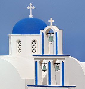 Orthodox church, Oia, Santorini / Thira Island, Greece, May 2009.  -  Loic  Poidevin
