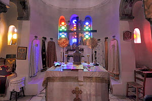 View of altar inside of a chapel,  Santorini / Thira Island, Greece, May 2009.  -  Loic  Poidevin