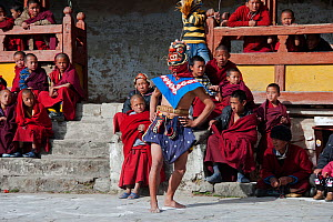 Graicham (a monastic dance) performed after accomplishing the Jarpuga ceremonial rites which lasted for a period of three days. The twelve dancers representing Dorge Jigje�s assistant, Shenti Dowo, ca... - Bernard Castelein