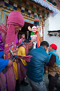 Carrying the 'Cake' (containing all the evil) out of the monastery to be burned at the end of the first day of the Torgya festival. Galdan Namge Lhatse Monastery,Tawang, Arunachal Pradesh, India. Janu... - Bernard Castelein