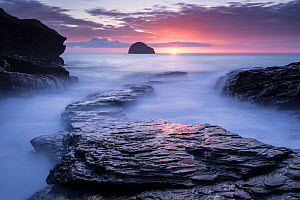 Sunset at Trebarwith Strand with incoming tide, North Cornwall, UK. March 2014.  -  Ross Hoddinott