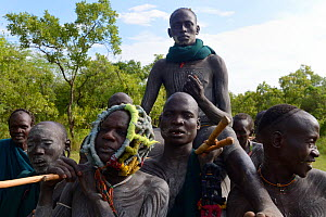 The winner of a 'Donga' fight is carried in triumph by other warriors from the Suri / Surma tribe. The Donga fights are an outlet to resolve conflicts between tribes. Omo river Valley, Ethiopia, Septe... - Eric Baccega