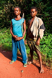 Portrait of two Mbuti Pygmy men, Democratic Republic of the Congo, Africa, December 2012.  -  Steve O. Taylor (GHF)