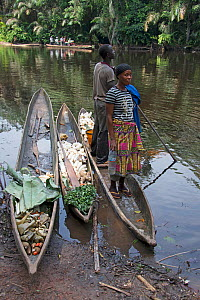 Man and woman with vegetables in dugout wooden canoes on riverbank, Monkoto, Salonga National Park, Equateur, Democratic Republic of the Congo, May 2012.  -  Steve O. Taylor (GHF)