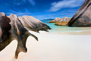 Rock formations on Anse Source d'Argent beach. La Digue Island, Seychelles. November, 2012.  -  Hougaard Malan