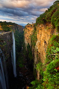 Waterfall over deep, narrow gorge. Magwa Falls, Pondoland, Eastern Cape, South Africa. June 2012. - Hougaard Malan