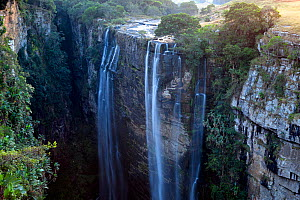 Waterfall over deep, narrow gorge. Magwa Falls, Pondoland, Eastern Cape, South Africa, June 2012. - Hougaard Malan