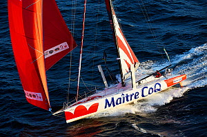 The IMOCA 60' 'Maitre CoQ' preparing for the start of the Route du Rhum, 22nd September 2014. Skipper, Jeremie Beyou. All non-editorial uses must be cleared individually. - Benoit  Stichelbaut