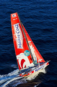 Aerial view of the IMOCA 60' 'Maitre CoQ' preparing for the start of the Route du Rhum, 22nd September 2014. Skipper, Jeremie Beyou. All non-editorial uses must be cleared individually. - Benoit  Stichelbaut