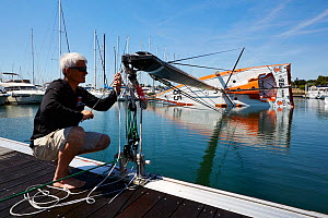 IMOCA 60 'PRB' in port for testing, 2nd July 2014. Skipper, Vincent Riou. All non-editorial uses must be cleared individually. - Benoit  Stichelbaut
