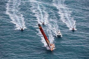 Aerial view of the IMOCA Open 60 ''PRB'' at the start of the Route du Rhum, departing from Saint-Malo 2nd November 2014. Skipper, Vincent Riou. All non-editorial uses must be cleared individually. - Benoit  Stichelbaut