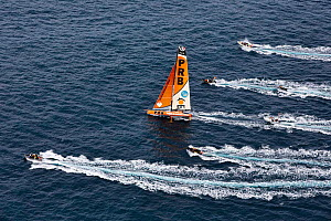 Aerial view of the IMOCA Open 60 'PRB' at the start of the Route du Rhum, departing from Saint-Malo 2nd November 2014. Skipper, Vincent Riou. All non-editorial uses must be cleared individually. - Benoit  Stichelbaut