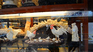 Intricate,Detailed,Intricacy,Asia,East Asia,China,Hong Kong,Kowloon,Kaulun,Kaulung,Kowloon Peninsula,Moving Image,Footage,Handheld,Animal,Tusk,Tusks,Art,Carvings,City,Building,Store,Shop,Shops,Stores,... - Carved elephant ivory for sale in a shop on Nathan Road, Kowloon
