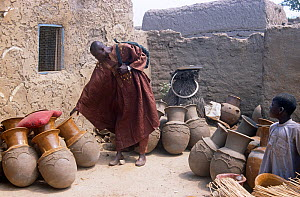 Mirriah villager looking at pots, rural Chad, 2002-2003.  -  Steve O. Taylor (GHF)