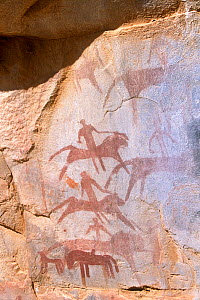 Rock painting showing warriors riding into battle on lions. Guilemsi, central Mauritania, 2004.  -  Steve O. Taylor (GHF)