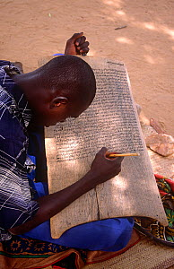 Student studying Islamic text and surahs from the Koran. Mirriah, southern Niger, 2005.  -  Steve O. Taylor (GHF)