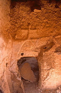 Interior of ancient abandoned coptic chapel with cross on the wall, northern Niger, 2005. - Steve O. Taylor (GHF)