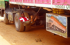 Hired man in hammock looking after truck from Nigeria, Niamey, Niger, 2005. - Steve O. Taylor (GHF)