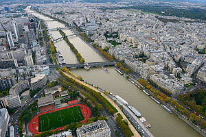 View from the Eiffel Tower of the Seine River, Paris, France, November 2013.  -  Staffan Widstrand