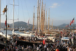 Spectators at marina after Les Voiles De St Tropez regatta, St Tropez, France, October 2013. All non-editorial uses must be cleared individually. - Ingrid  Abery
