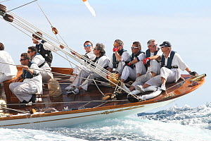 The crew of classic yacht 'Elena' during Les Voiles De St Tropez regatta, St Tropez, France, October 2013. All non-editorial uses must be cleared individually. - Ingrid  Abery
