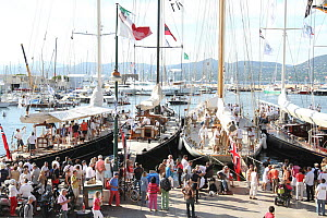 J-Class yachts in the marina after racing, Les Voiles De St Tropez regatta, St Tropez, France, October 2013. All non-editorial uses must be cleared individually. - Ingrid  Abery