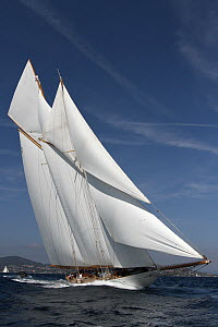 Schooner 'Elena' sailing in Les Voiles De St Tropez regatta, St Tropez, France, October 2013. All non-editorial uses must be cleared individually. - Ingrid  Abery