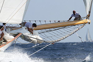 Changing sails aboard the schooner 'Elena', Les Voiles De St Tropez regatta, St Tropez, France, October 2013. All non-editorial uses must be cleared individually. - Ingrid  Abery