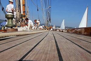 Deck and crew aboard the 1911 Classic yacht Mariquita in St Tropez, southern France, September 2011. All non-editorial uses must be cleared individually. - Ingrid  Abery