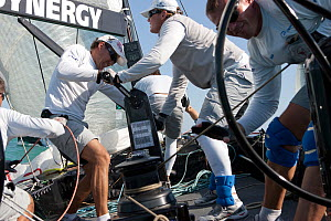 Crew grinding / winching aboard R44 yacht Synergy, racing at Key West, Florida, January 2011 All non-editorial uses must be cleared individually. - Ingrid  Abery